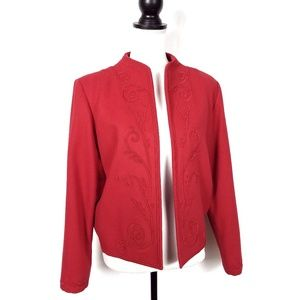 Ellen Tracy Red Wool Blend Open Jacket
